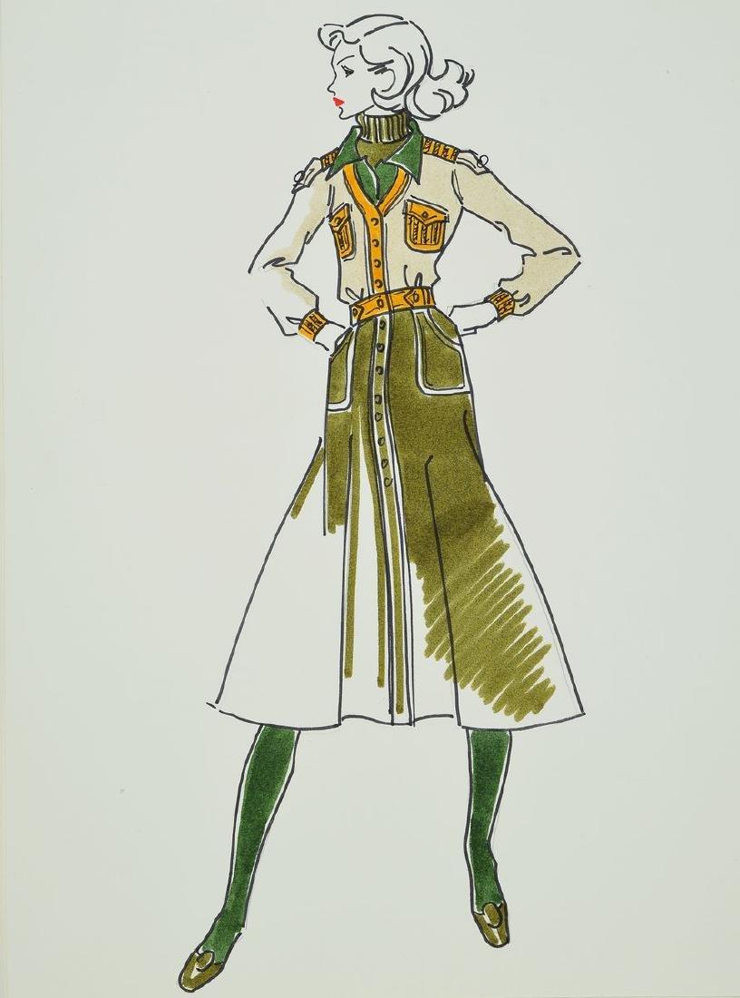 Karl Lagerfeld, born 1933 Hamburg, fashion drawing