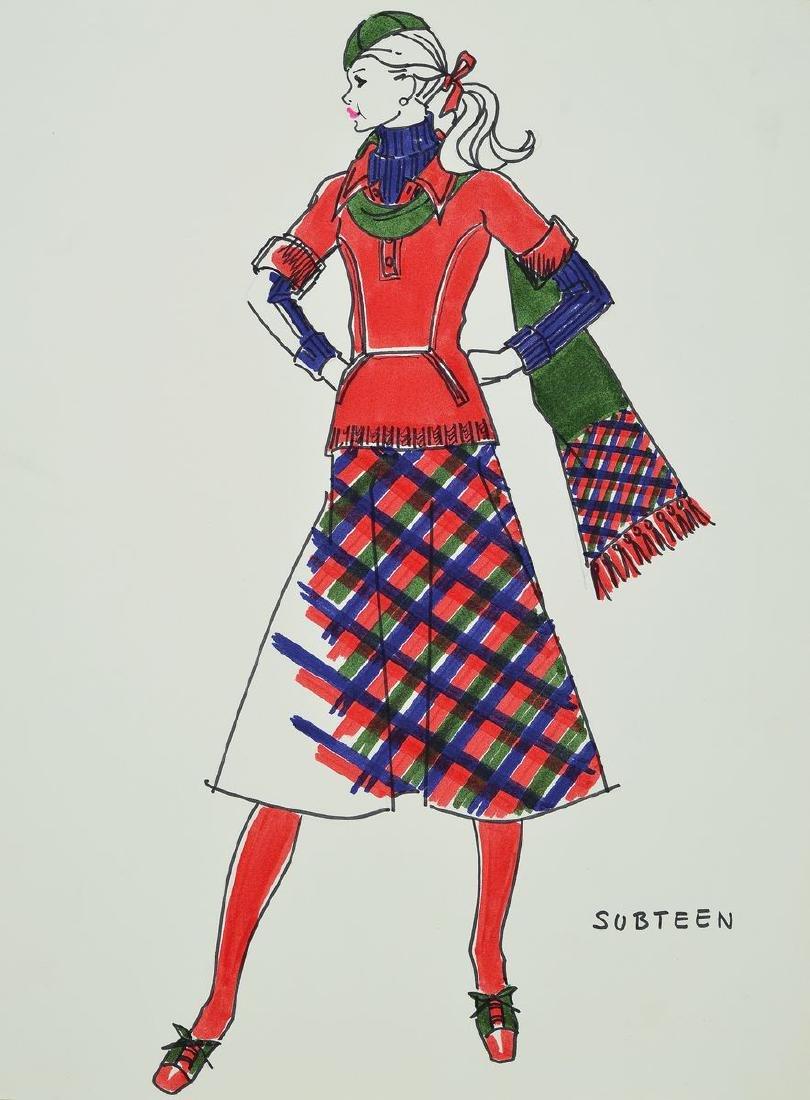 Karl Lagerfeld, 1933-2019, fashion drawing Subteen