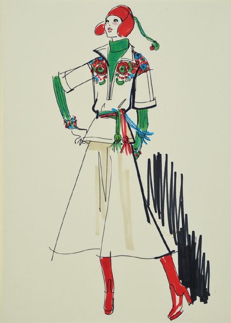Karl Lagerfeld, 1933-2019, fashion drawing, felt pen on
