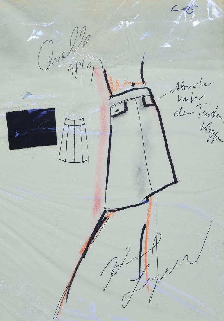 Karl Lagerfeld, 1933-2019, fashion drawing skirtwith