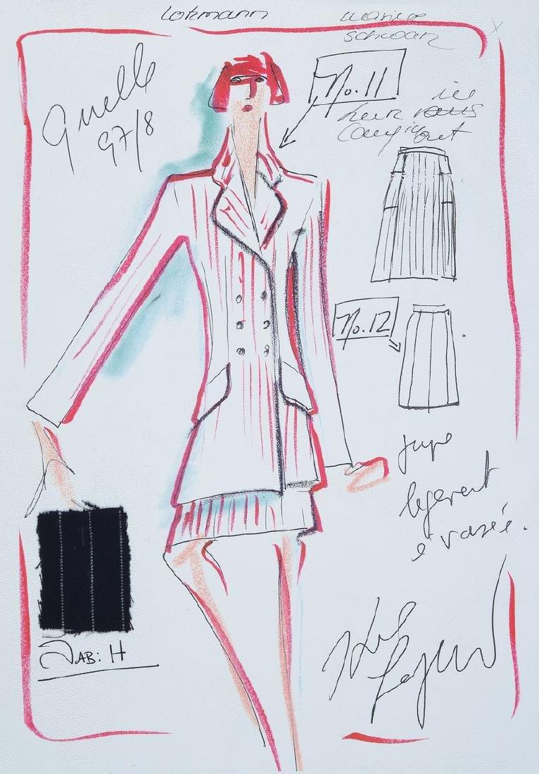 Karl Lagerfeld, 1933-2019, 2 fashion sketches,felt pen