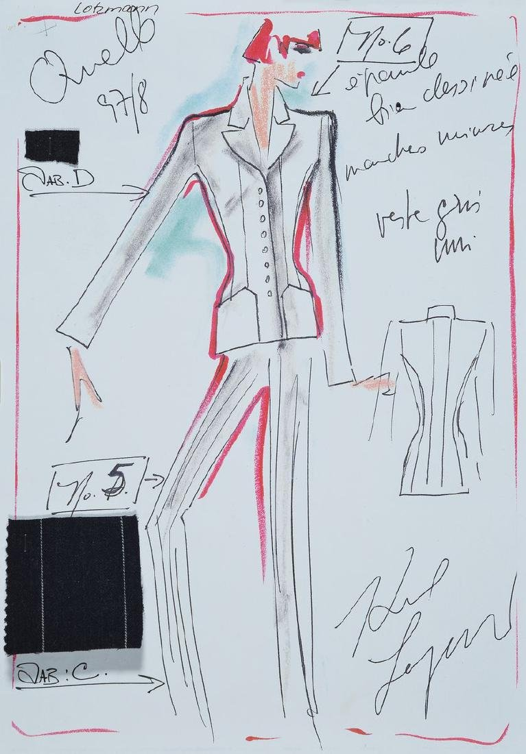 Karl Lagerfeld, 1933-2019, wallet with drawings and