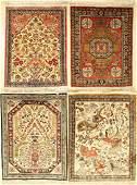 (4 Lots) 4x Silk Qum Rugs,