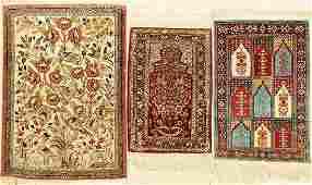 (3 Lots) Rugs, 1x Silk Qum Persia 2x Kaisery Turkey