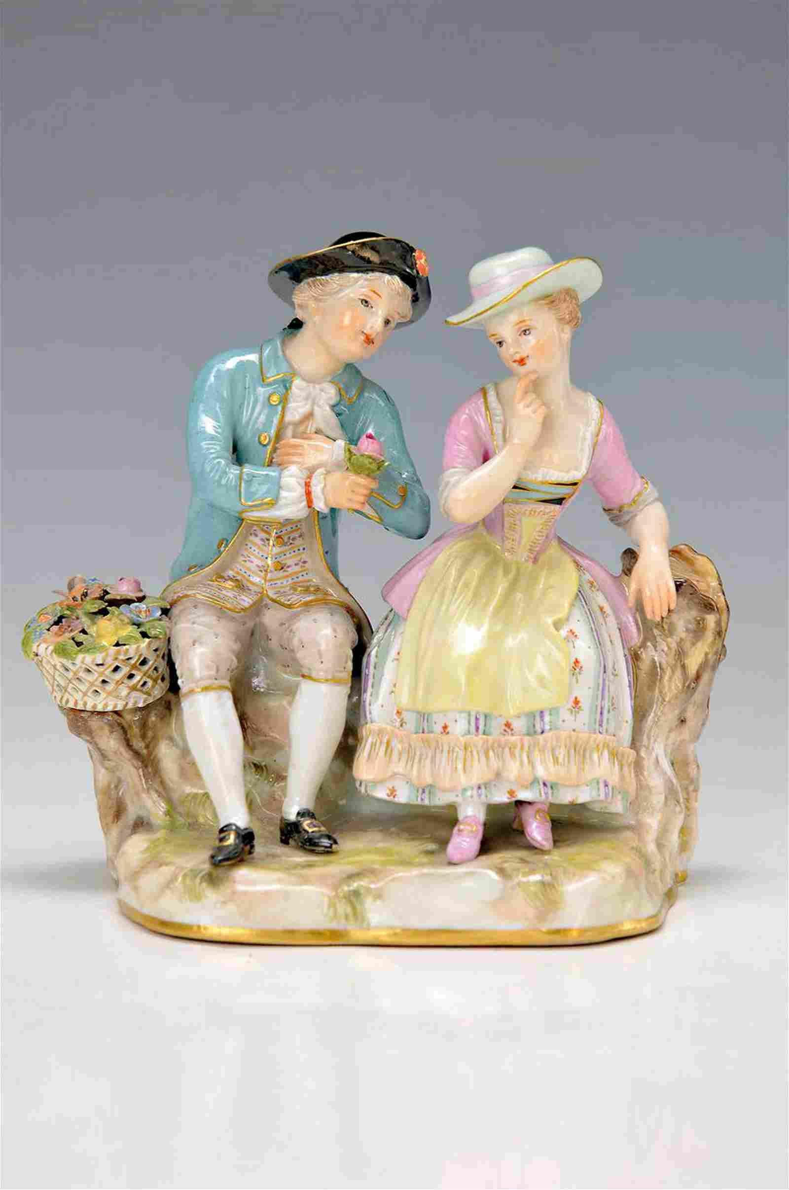 figurine, Meissen, around 1880-90, couple in garden