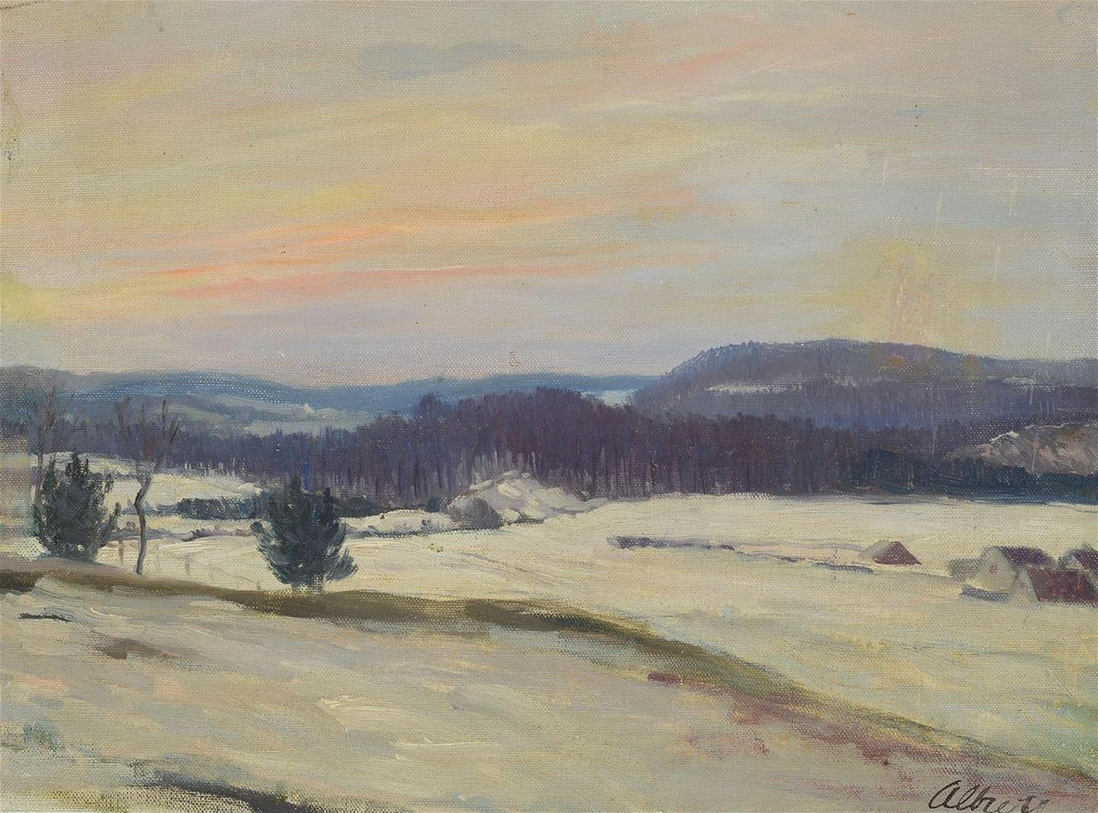Curd Albrecht, 1884 - 1964, winter landscape, oil /