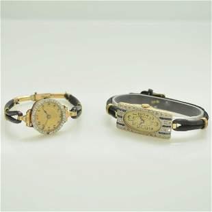 Set of 2 14k gold diamond set artdeco wristwatch