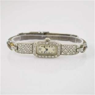 PAUL DITISHEIM diamonds set platinum Art Deco watch