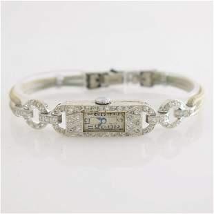 Art Deco platinum diamonds set ladies wristwatch