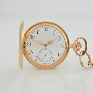 REVUE 14k pink gold hunting cased pocket watch