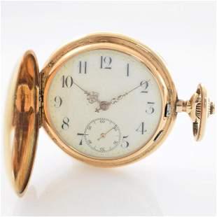 SYSTEME GLASHTTE 14k hunting cased pocket watch