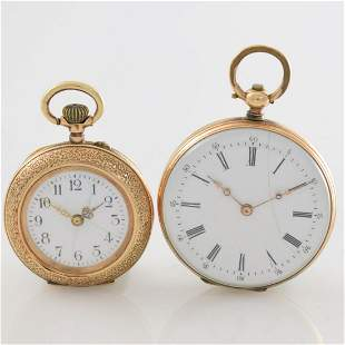 Set of 2 14k pink gold open face ladies pocket watches