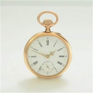 IWC 14k pink gold open face pocket watch