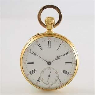 Open face 18k yellow gold pocket watch