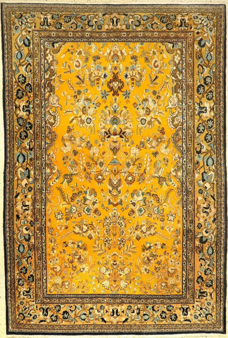 Yellow Kurk Qum 'Part-Silk' Rug,