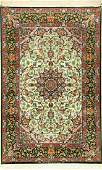 Fine Green Silk Ground Isfahan 'Nasr' Rug (Signed),