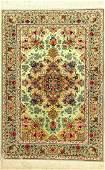 Fine Green Silk Ground Isfahan 'Ahmadi' Rug (Signed),