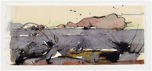 Horst Janssen, 1929 - 1995, watercolor on