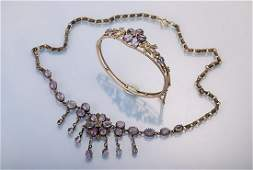 Necklace and bangle with amethysts and pearls