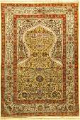Fine Silk & Metal-Thread Hereke Rug (Kum Kapi Design),