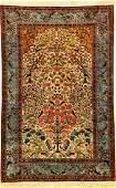 Fine & Rare Silk Kashan 'Dabir Sanayeh' Rug,