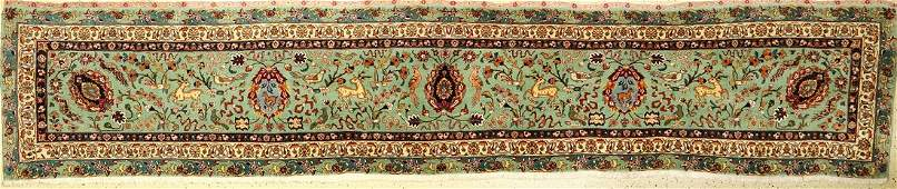 Fine & Rare Green Tabriz 'Part-Silk' Wagireh- Runner,