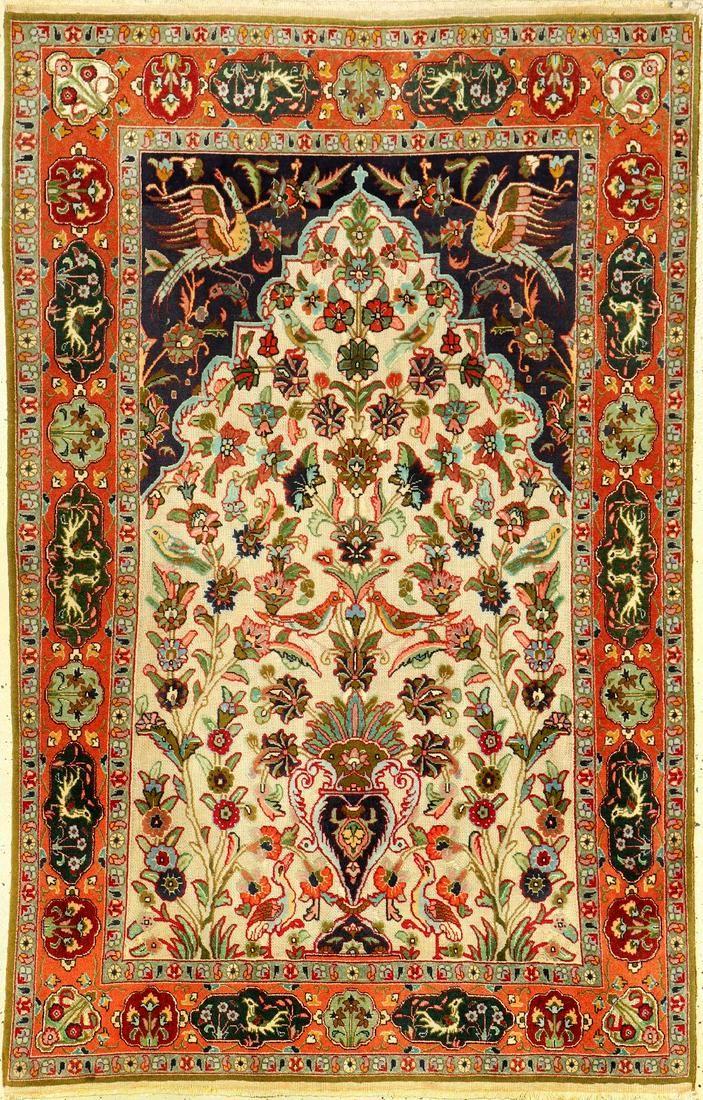 Fine Metal-Brocaded 'Souf' Tabriz (Part-Silk) Rug,