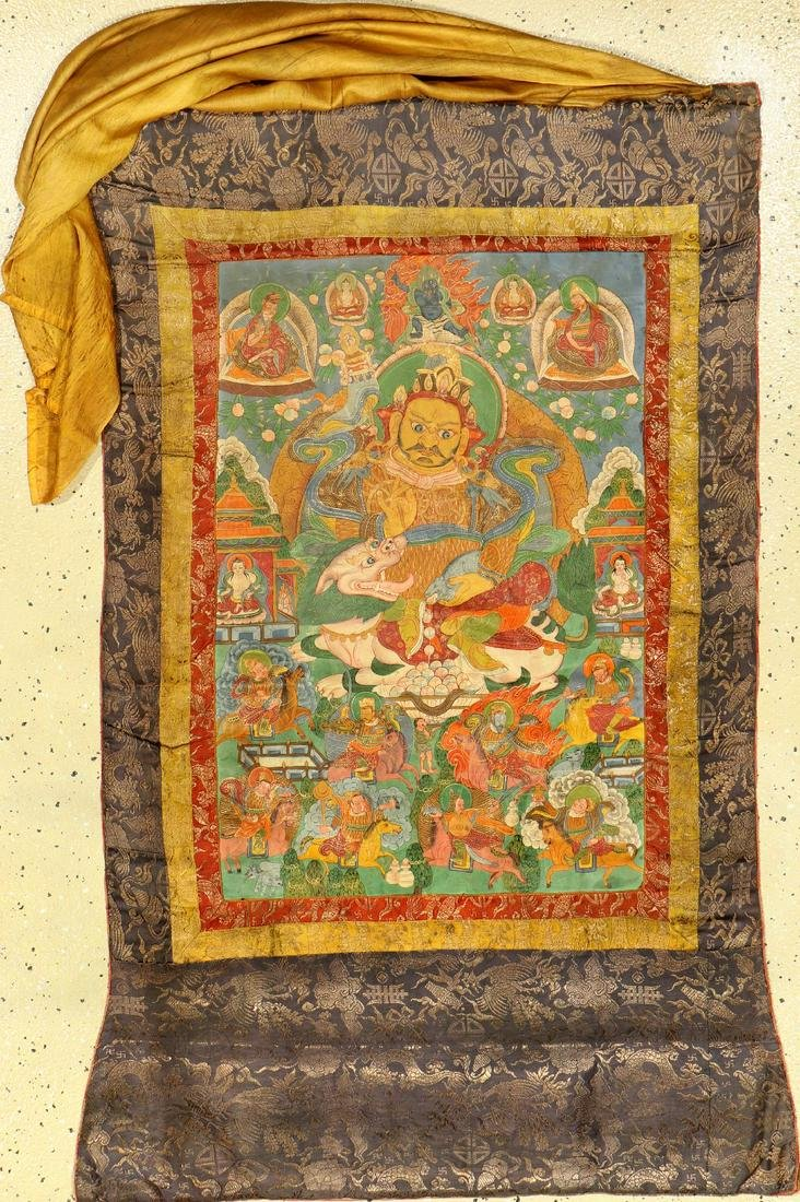 Tibetan Thangka (Yellow Jambhala),