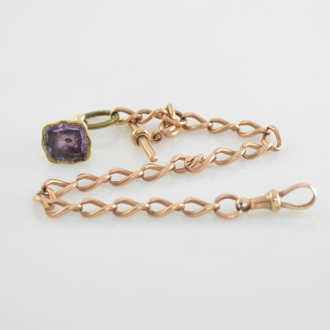 9k pink gold pocket watch chain