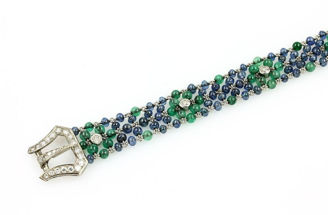 Platinum Art-Deco bracelet with coloured stones and
