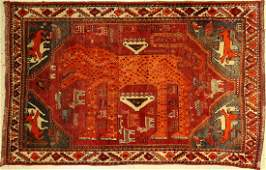 Gabbeh Lion Rug, Gashgai, Persia, around 1950,wool on