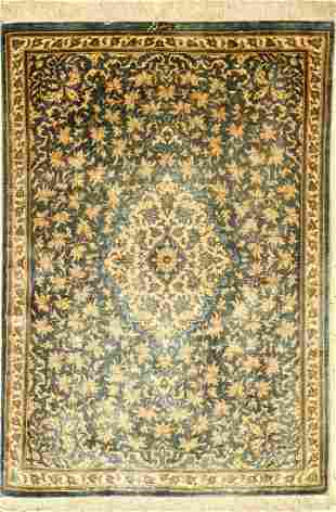 Silk Qum fine Rug (Signed), Persia, approx. 30years,