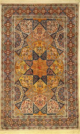 Fine Esfahan 'Haghighi' Rug old 'Signed' (yellow silk