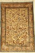 Silk Qum rug old, Persia, approx. 50 years, pure
