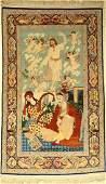 Rare fine Esfahan rug (Hafiz with Jesus), Persia