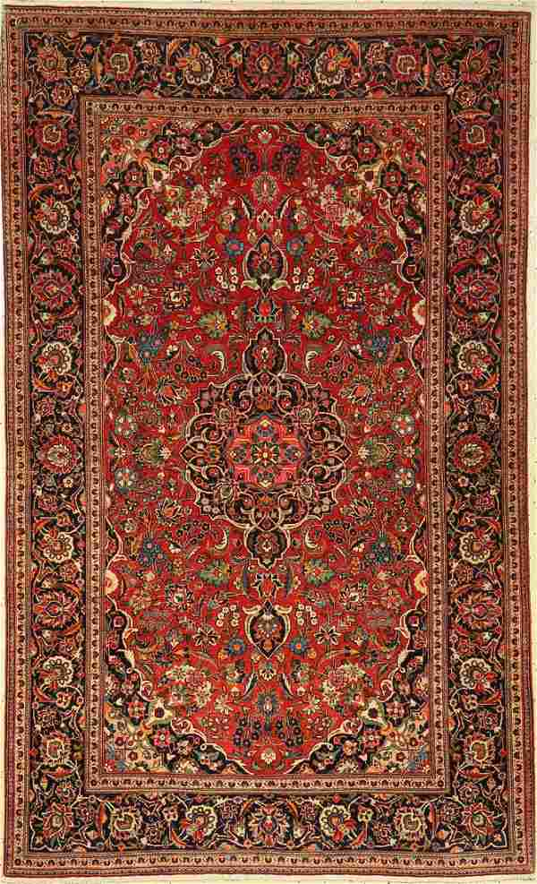 Kashan rug old, Persia, around 1940, wool, approx. 215