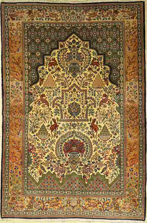 Fine Qum rug old, Persia, approx. 50 years, wool with