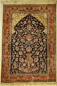 Fine silk & metal Tabriz old rug, Persia, around 1940