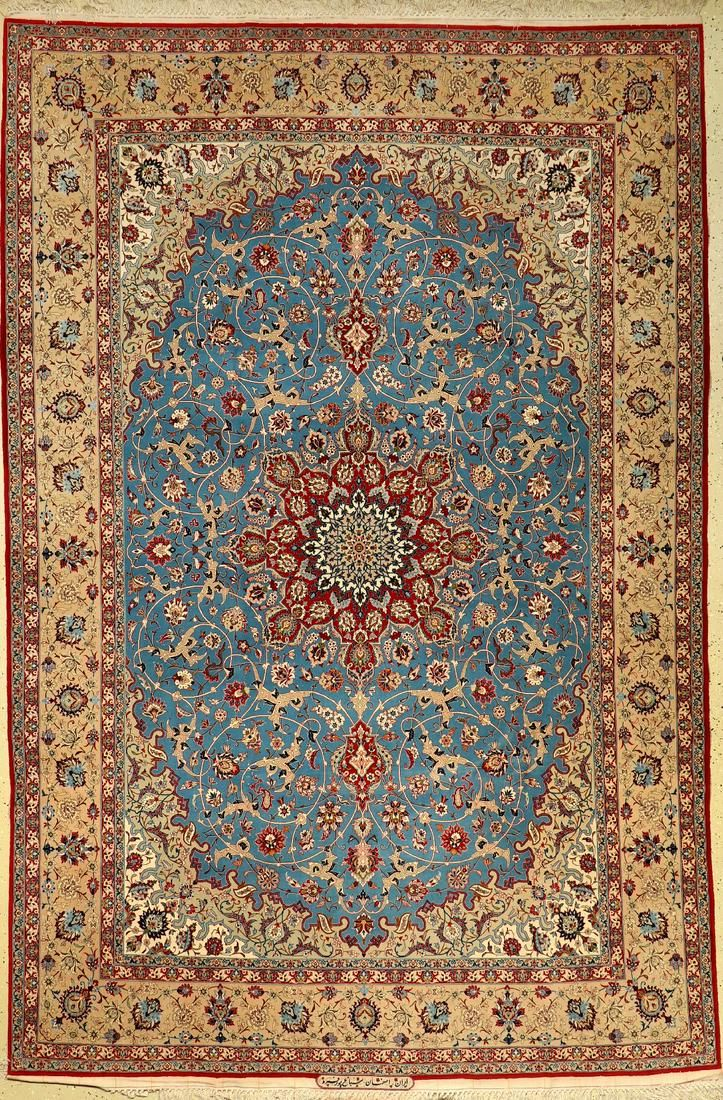 Fine Isfahan old rug (signed), Persia, around 1960,
