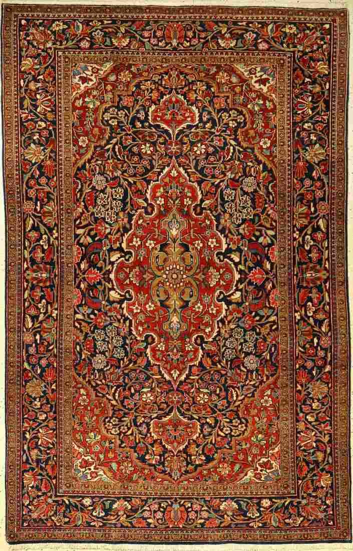 Kashan rug old, Persia, around 1910, wool, approx. 197