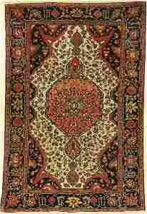 Fine white ground Farahan rug antique, Persia,19th