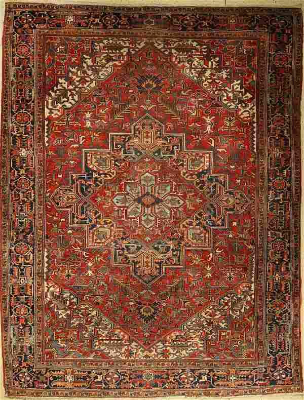 Heriz carpet old, Persia, around 1930, wool oncotton