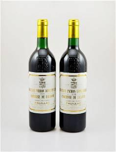 2 bottles of 1993 Chateau Pichon Longueville Comtesse