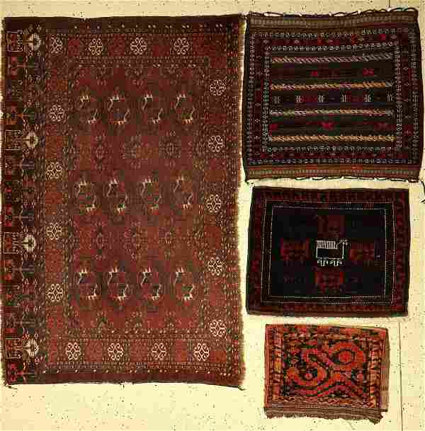 (4 Lots) 2x Baluch bagface, Persia around 1930, 1 x