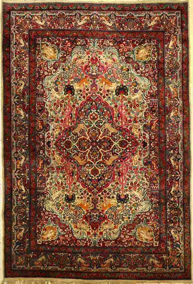 Yazd Carpet antique, Persia, around 1900, woolon cotton