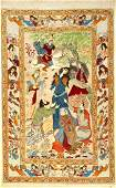 Fine Esfahan pictorial rug, old, Persia, around