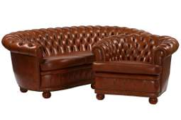 3-seater sofa and 2 armchairs, in Chesterfieldstyle