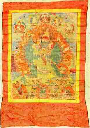 Thangka old Yamantaka Tibet around 1930 painting