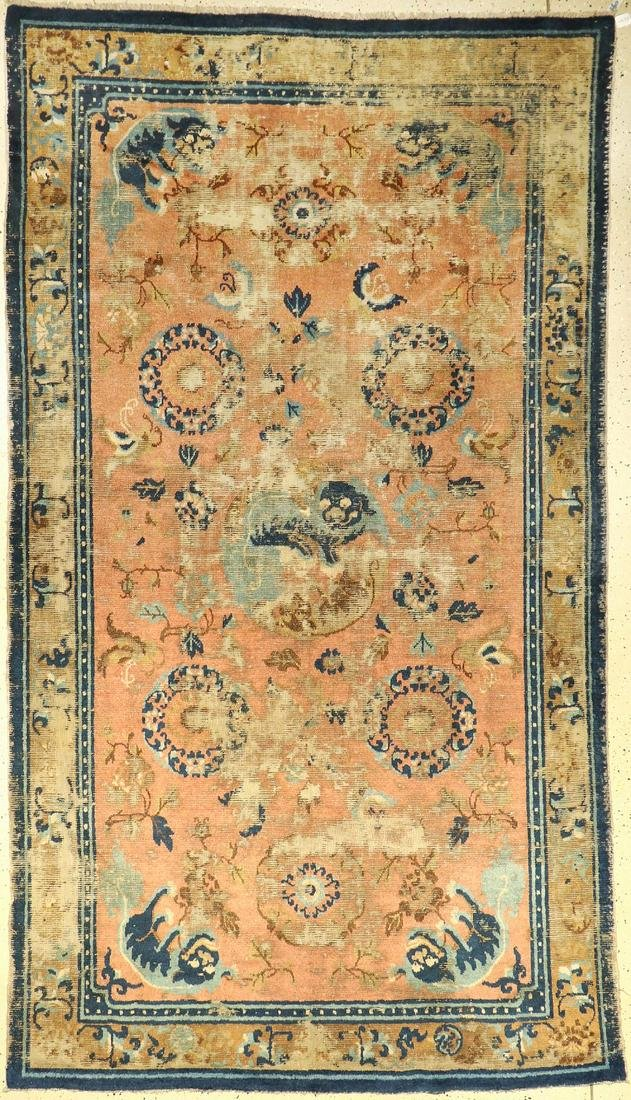 Early Ningxia antique rug, China, (fo-dogs), 18th