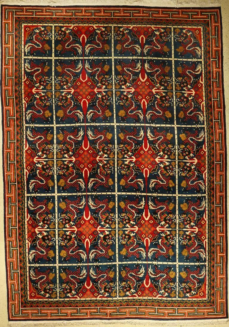Old dragon carpet, Mongolia, around 1940/1950,wool on